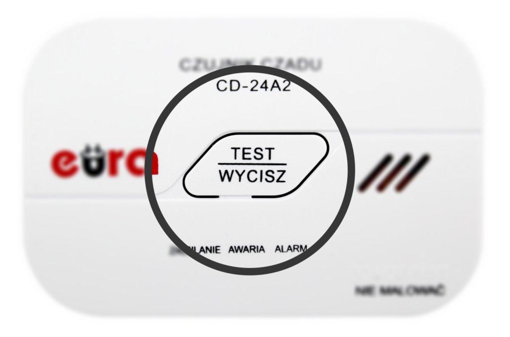 Przycisk testu czujnika czadu